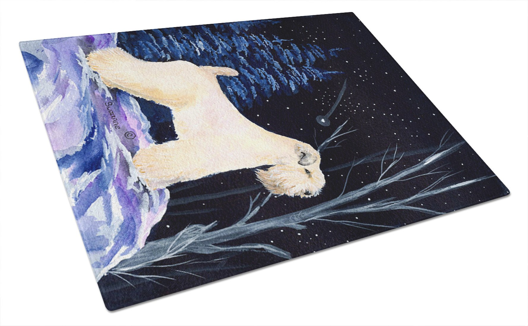 Starry Night Wheaten Terrier Soft Coated Glass Cutting Board Large by Caroline's Treasures