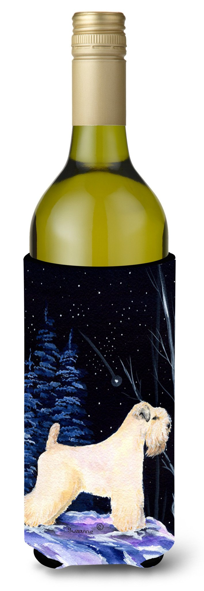Starry Night Wheaten Terrier Soft Coated Wine Bottle Beverage Insulator Beverage Insulator Hugger SS8386LITERK by Caroline's Treasures