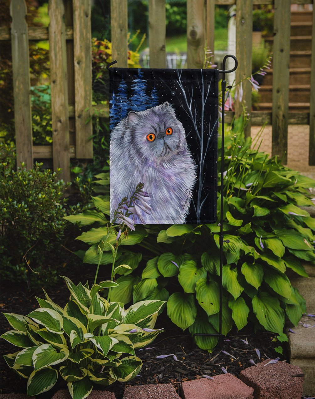 Starry Night Cat - Persian Flag Garden Size by Caroline's Treasures