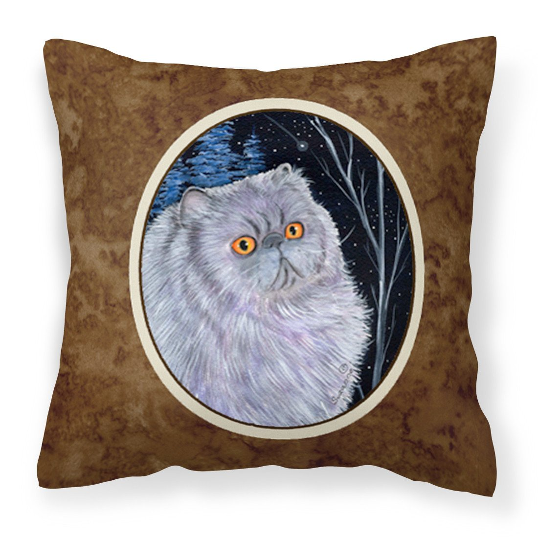 Starry Night Cat - Persian Fabric Decorative Pillow SS8402PW1414 by Caroline's Treasures