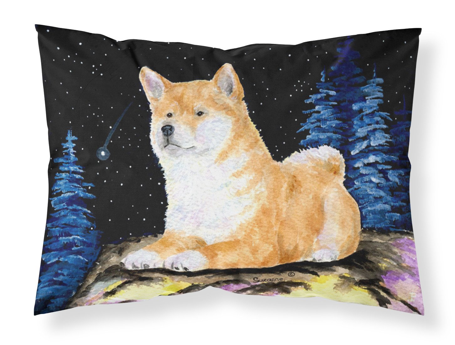 Starry Night Shiba Inu Moisture wicking Fabric standard pillowcase by Caroline's Treasures