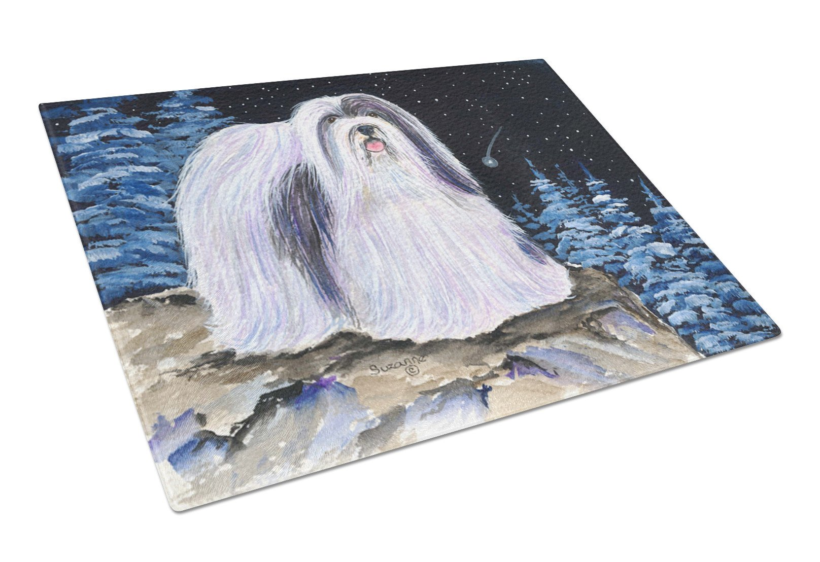 Starry Night Havanese Glass Cutting Board Large by Caroline's Treasures