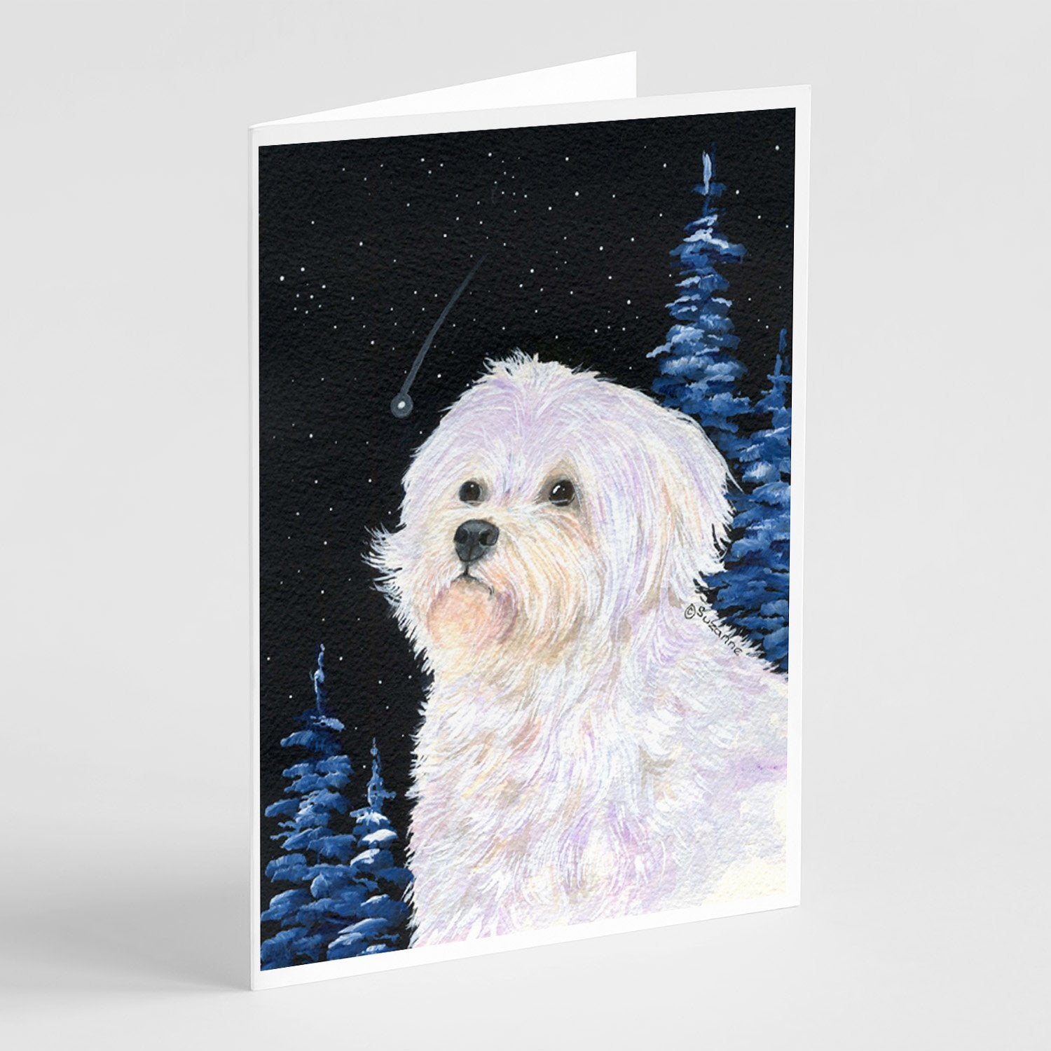 Buy this Starry Night Maltese Greeting Cards and Envelopes Pack of 8