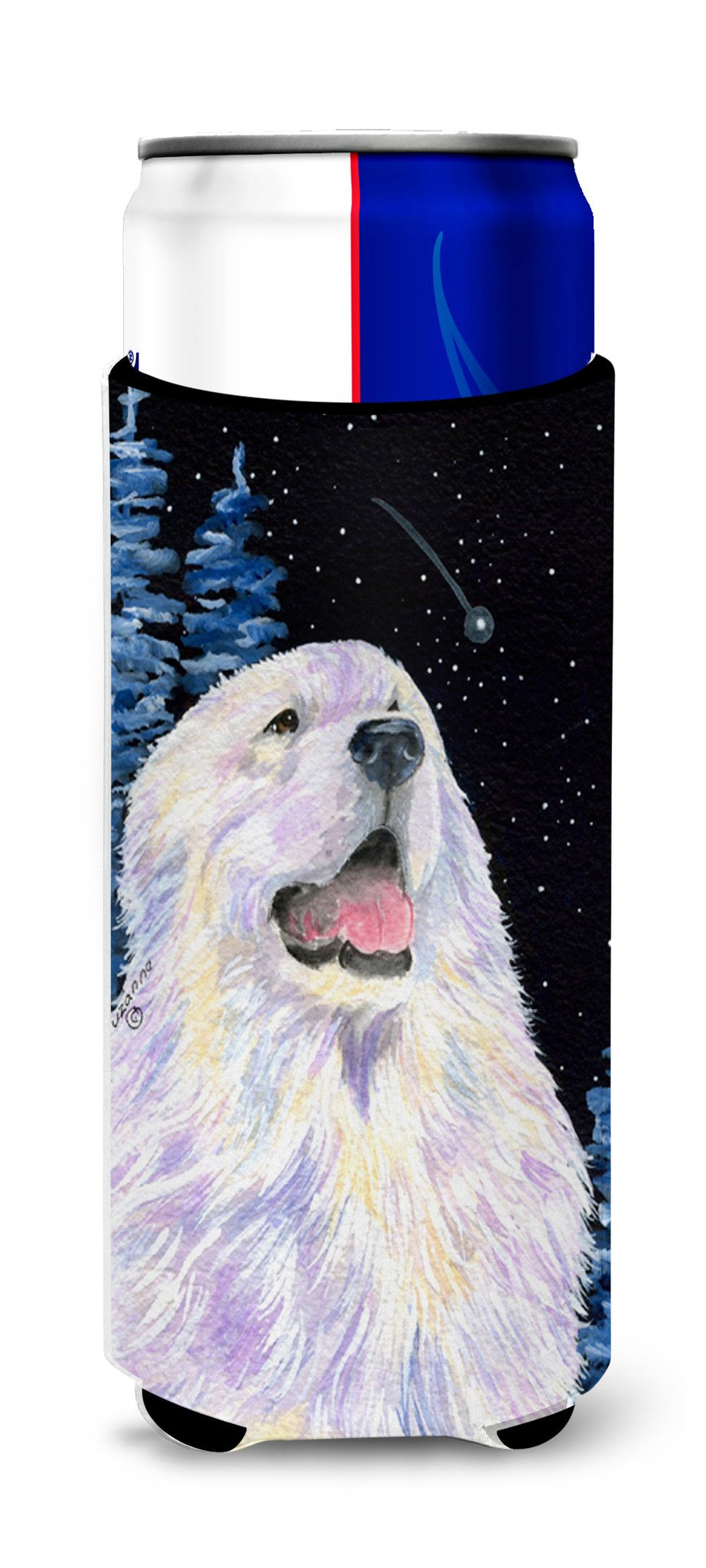 Starry Night Great Pyrenees Ultra Beverage Insulators for slim cans SS8466MUK by Caroline's Treasures