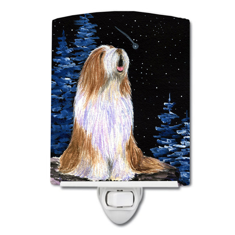 Buy this Starry Night Bearded Collie Ceramic Night Light SS8467CNL