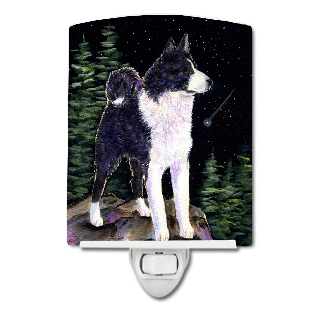 Starry Night Karelian Bear Dog Ceramic Night Light SS8483CNL by Caroline's Treasures
