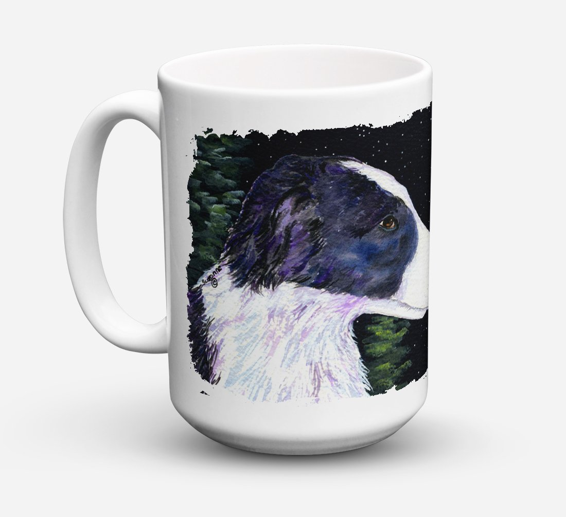 Starry Night Border Collie Dishwasher Safe Microwavable Ceramic Coffee Mug 15 ounce SS8490CM15 by Caroline's Treasures