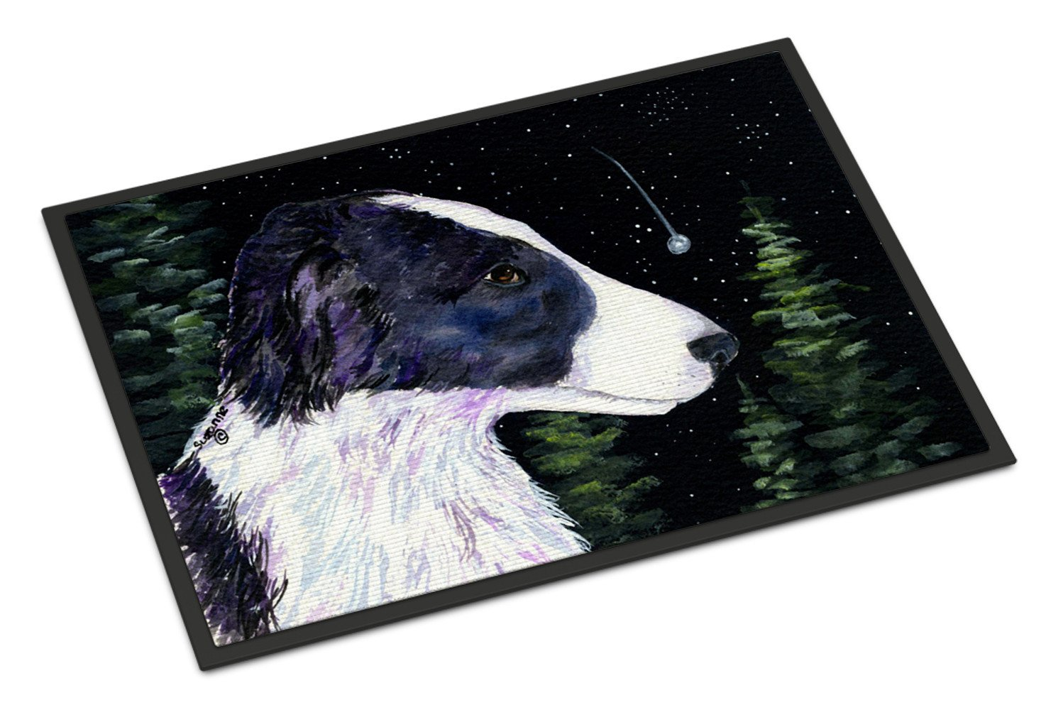 Starry Night Border Collie Indoor or Outdoor Mat 18x27 Doormat - the-store.com