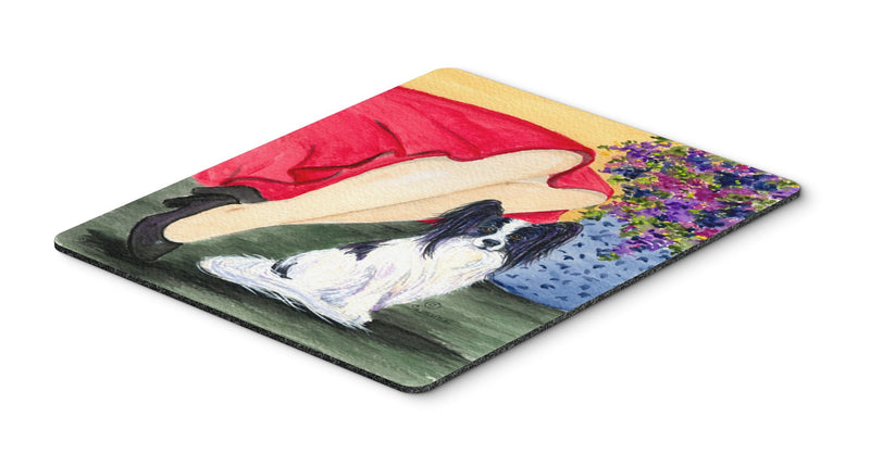 Buy this Lady with her Papillon Mouse Pad, Hot Pad or Trivet