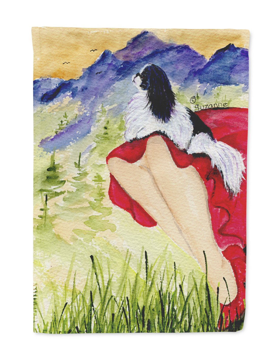 Lady with her Japanese Chin Flag Garden Size by Caroline's Treasures