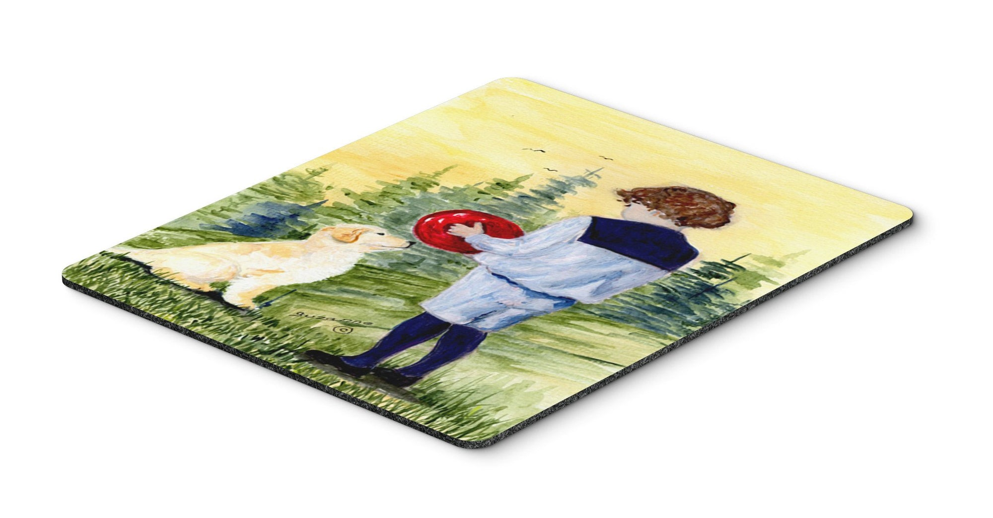 Buy this Little Boy with his Golden Retriever Mouse Pad, Hot Pad or Trivet