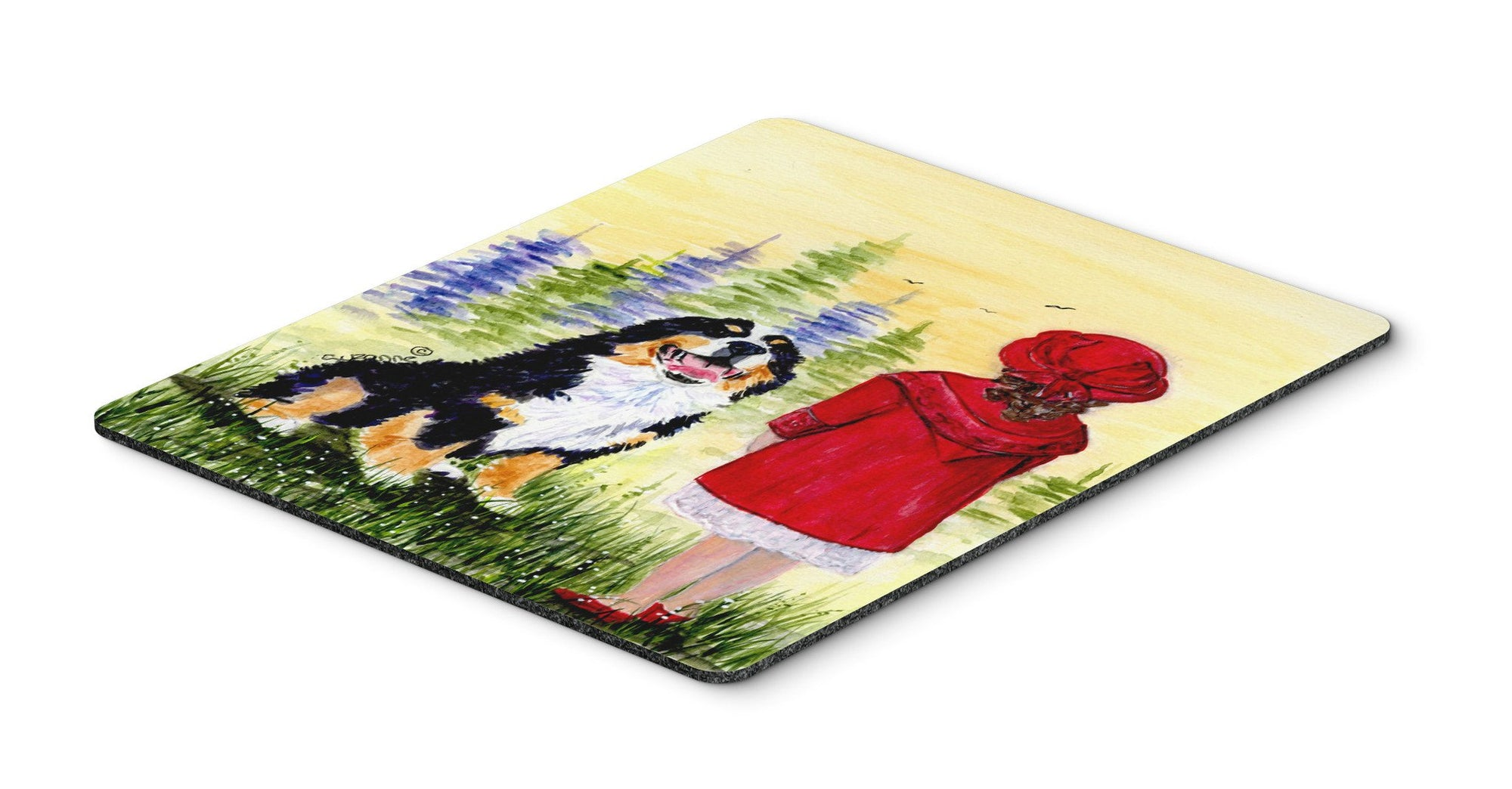 Buy this Little Girl with her Bernese Mountain Dog Mouse Pad, Hot Pad or Trivet