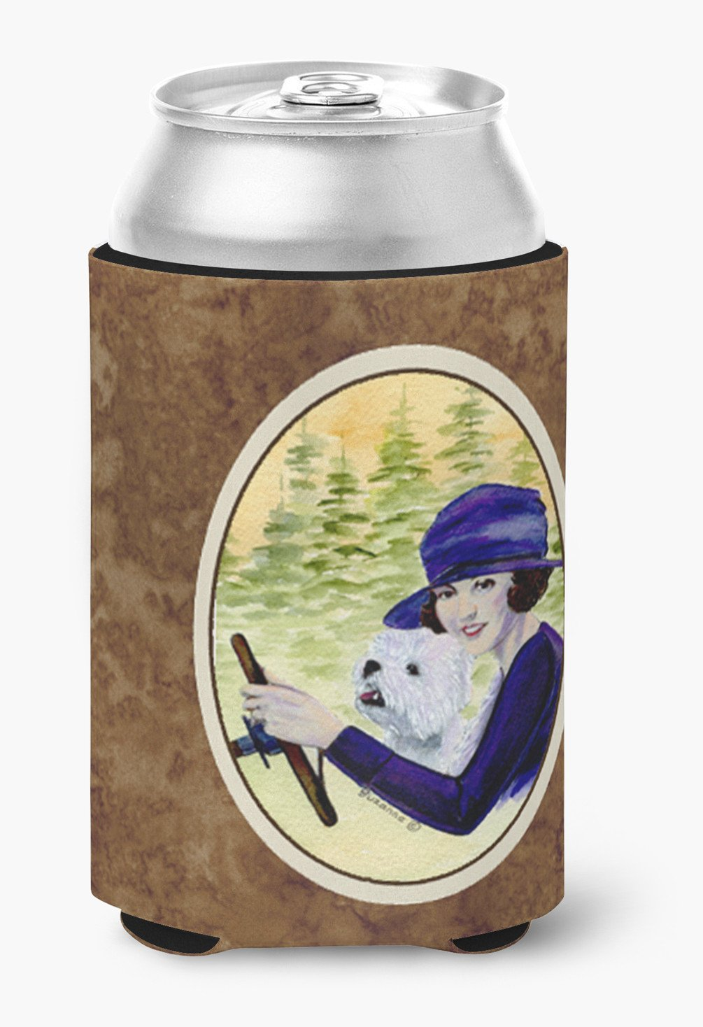 Woman driving with her Westie Can or Bottle Beverage Insulator Hugger by Caroline's Treasures