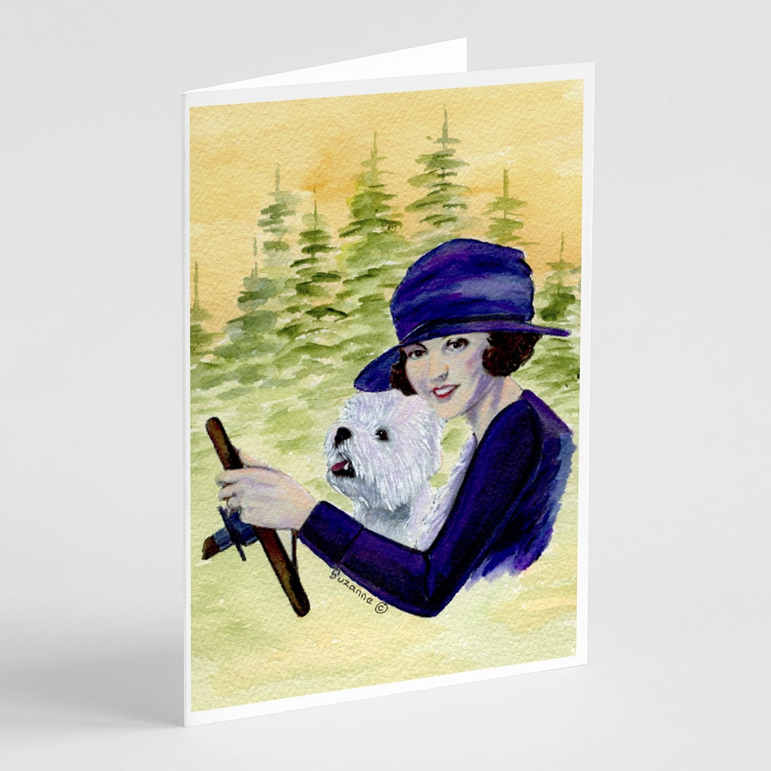Buy this Woman driving with her Westie Greeting Cards and Envelopes Pack of 8