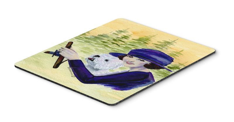 Buy this Woman driving with her Westie Mouse Pad, Hot Pad or Trivet