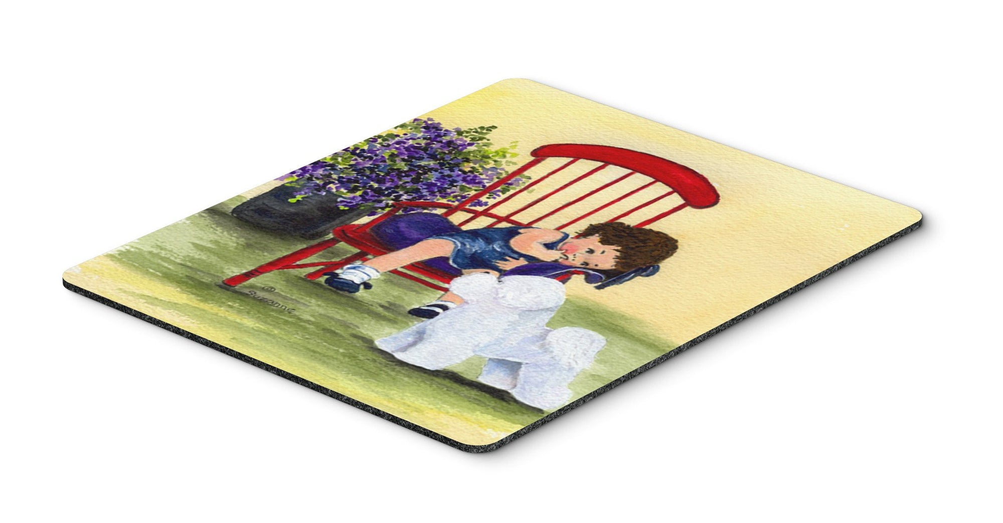 Buy this Little Girl with her Bichon Frise Mouse Pad, Hot Pad or Trivet