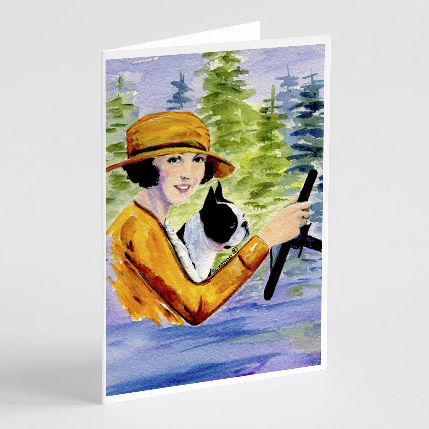 Buy this Woman driving with her Boston Terrier Greeting Cards and Envelopes Pack of 8