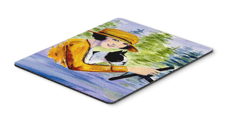 Buy this Woman driving with her Boston Terrier Mouse Pad, Hot Pad or Trivet