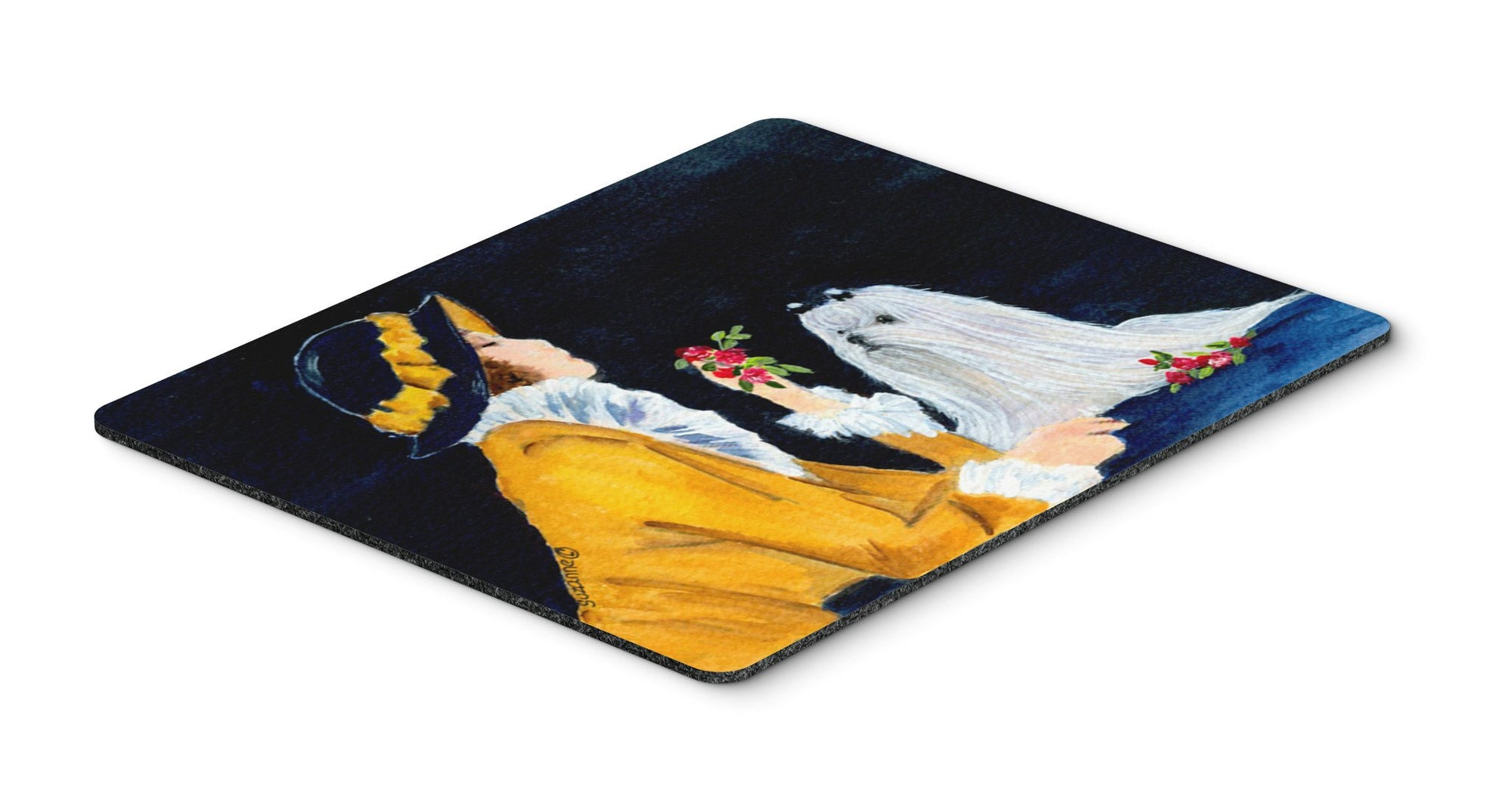 Buy this Lady with her Maltese Mouse Pad / Hot Pad / Trivet