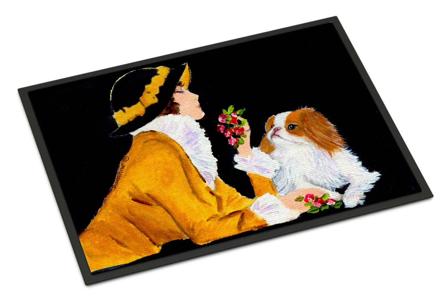 Buy this Lady with her Japanese Chin Indoor Outdoor Mat 18x27 Doormat