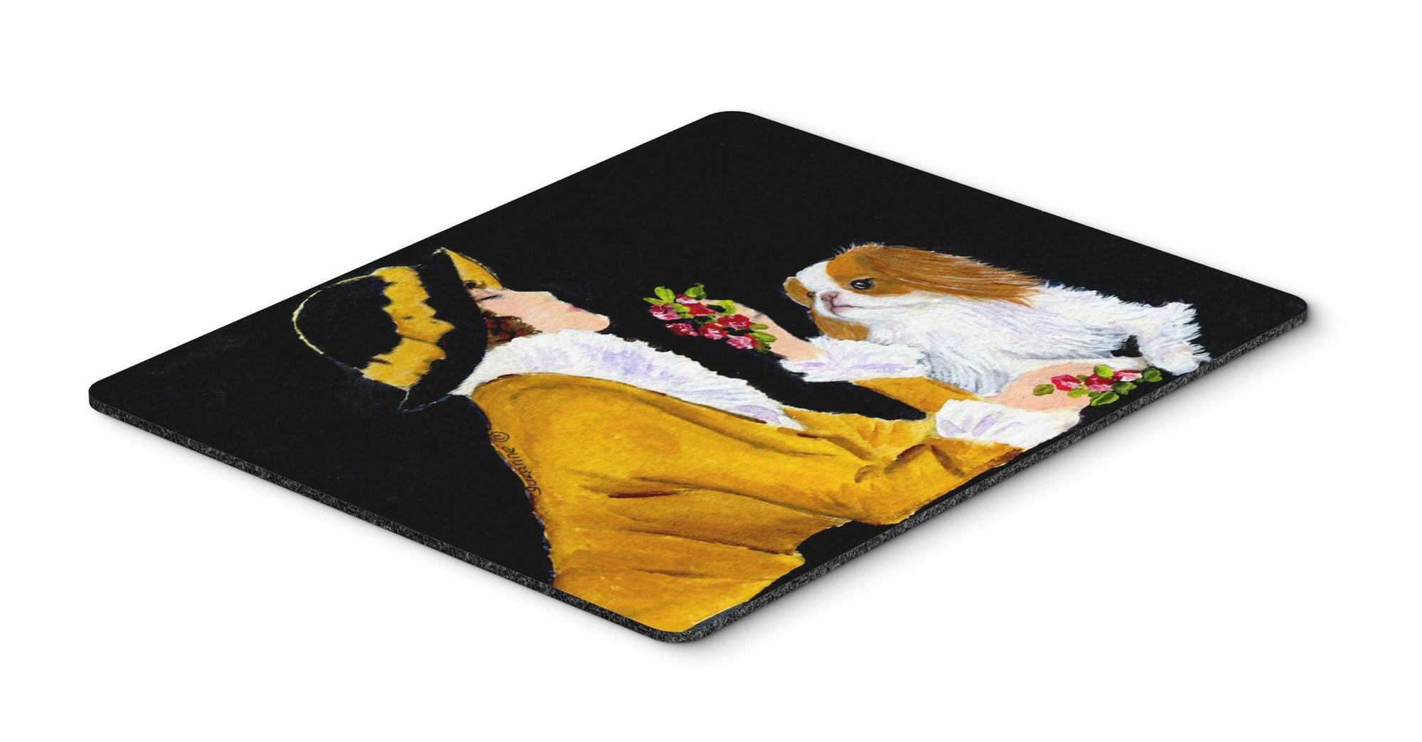 Buy this Lady with her Yorkie Mouse Pad / Hot Pad / Trivet