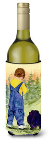 Buy this Little Boy with his  Pomeranian Wine Bottle Beverage Insulator Beverage Insulator Hugger