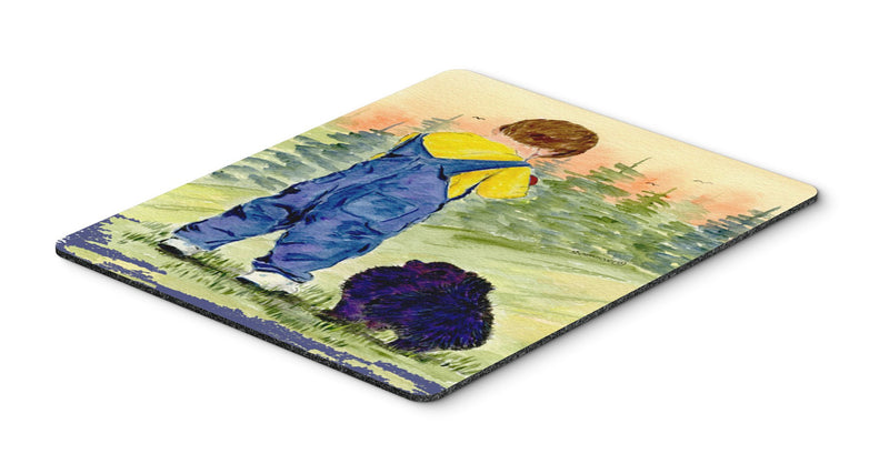 Buy this Little Boy with his  Pomeranian Mouse Pad, Hot Pad or Trivet