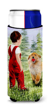 Little Boy with his  Golden Retriever Ultra Beverage Insulators for slim cans SS8545MUK by Caroline's Treasures