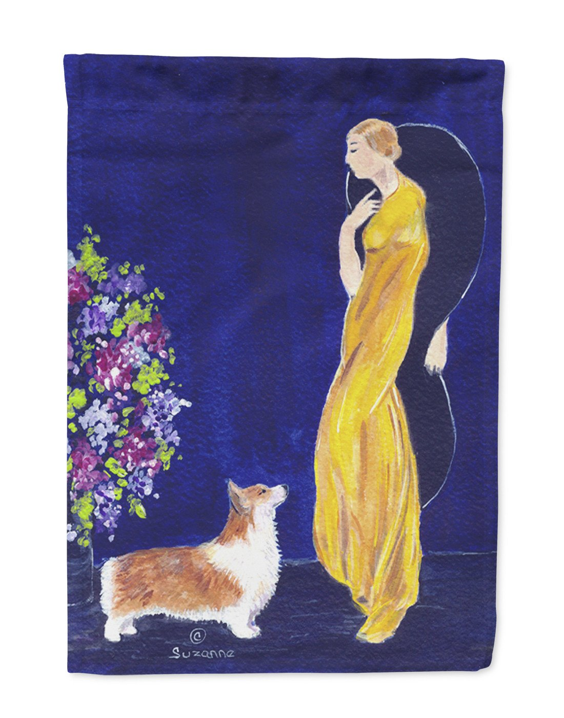 Buy this Lady with her Corgi Flag Garden Size