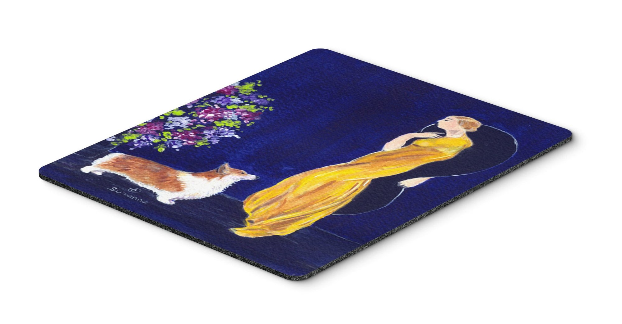 Buy this Lady with her Corgi Mouse Pad, Hot Pad or Trivet