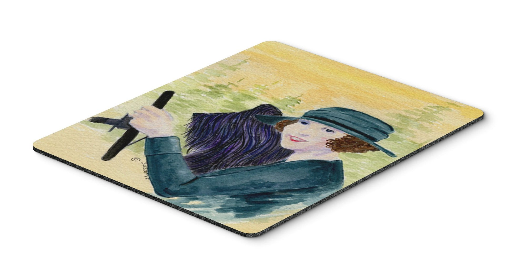 Buy this Lady driving with her Briard Mouse Pad, Hot Pad or Trivet