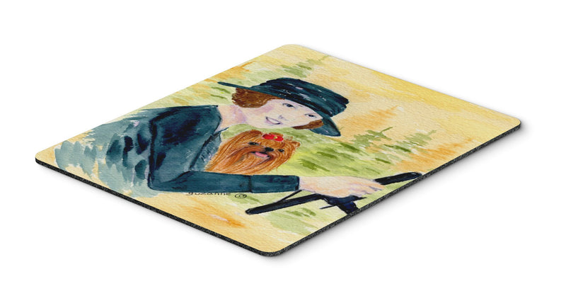 Buy this Lady driving with her Yorkie Mouse Pad, Hot Pad or Trivet