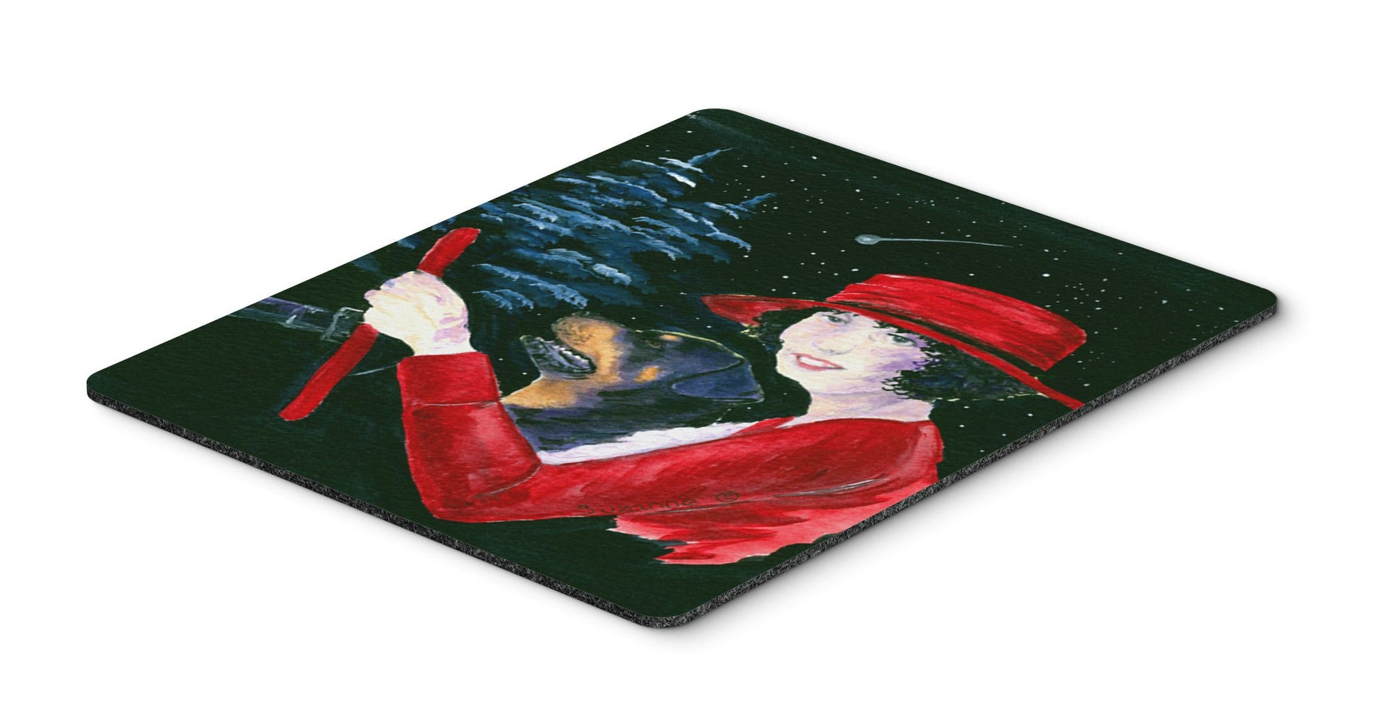 Buy this Lady driving with her Rottweiler Mouse Pad, Hot Pad or Trivet