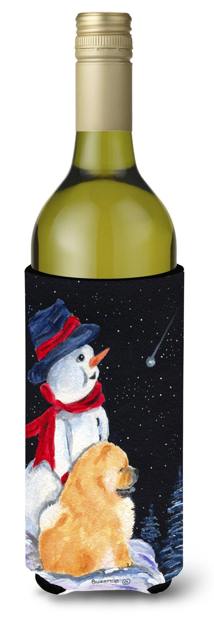 Snowman with Chow Chow Wine Bottle Beverage Insulator Beverage Insulator Hugger by Caroline's Treasures