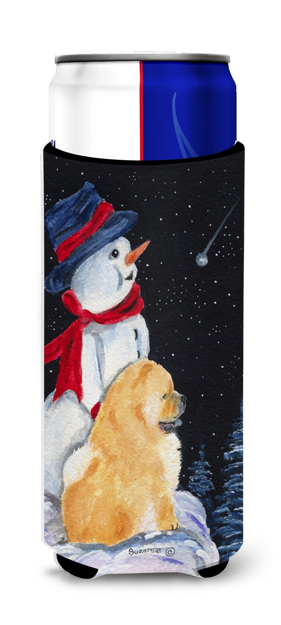 Snowman with Chow Chow Ultra Beverage Insulators for slim cans SS8554MUK by Caroline's Treasures