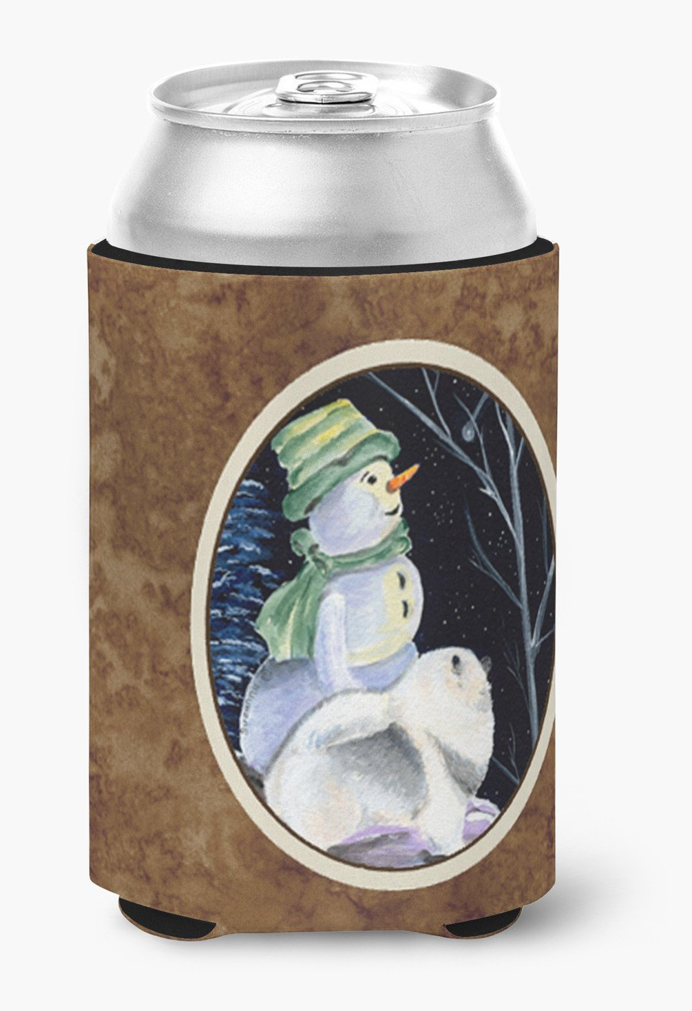 Snowman with Keeshond Can or Bottle Beverage Insulator Hugger by Caroline's Treasures