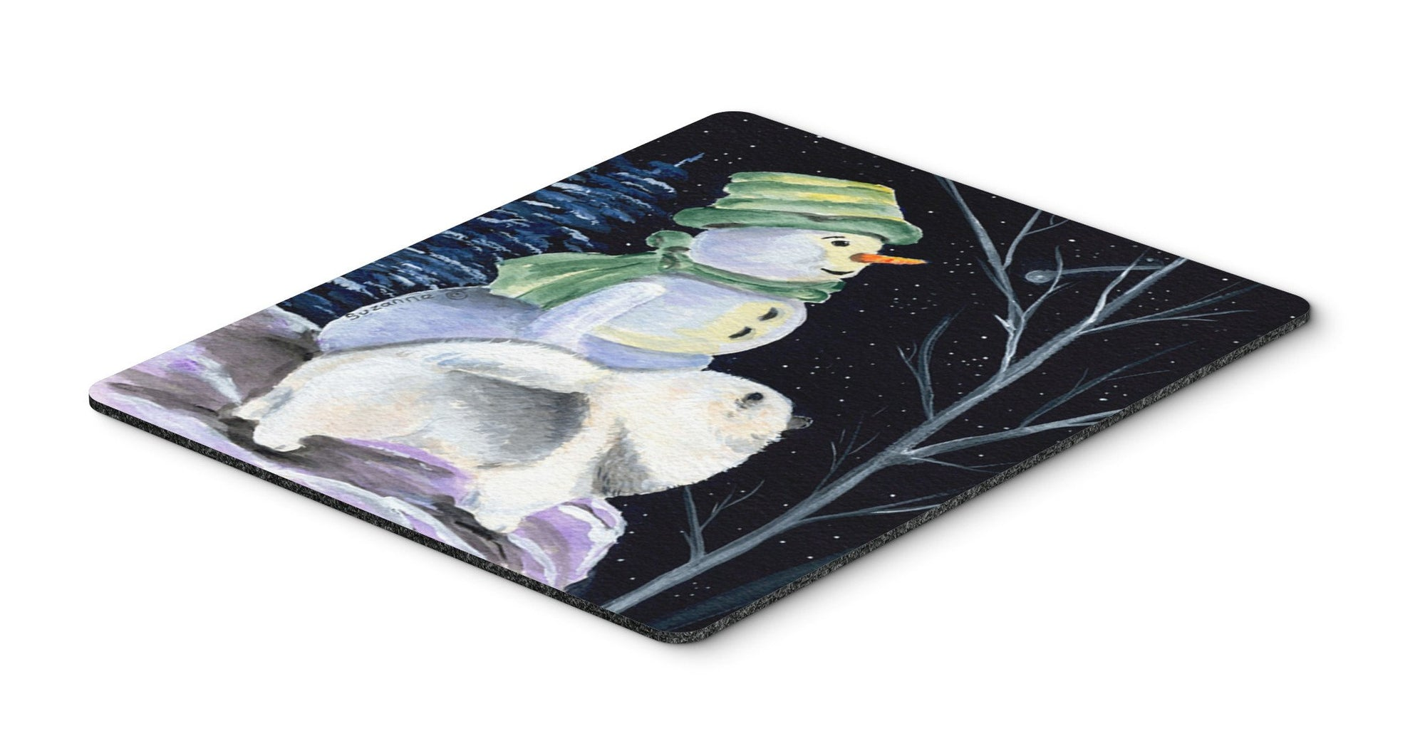 Snowman with Keeshond Mouse Pad, Hot Pad or Trivet by Caroline's Treasures