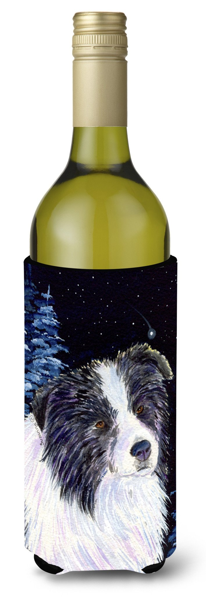 Starry Night Border Collie Wine Bottle Beverage Insulator Beverage Insulator Hugger SS8558LITERK by Caroline's Treasures
