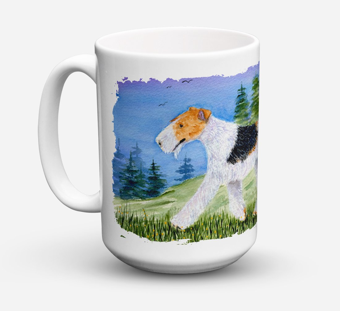 Fox Terrier Dishwasher Safe Microwavable Ceramic Coffee Mug 15 ounce SS8599CM15 by Caroline's Treasures