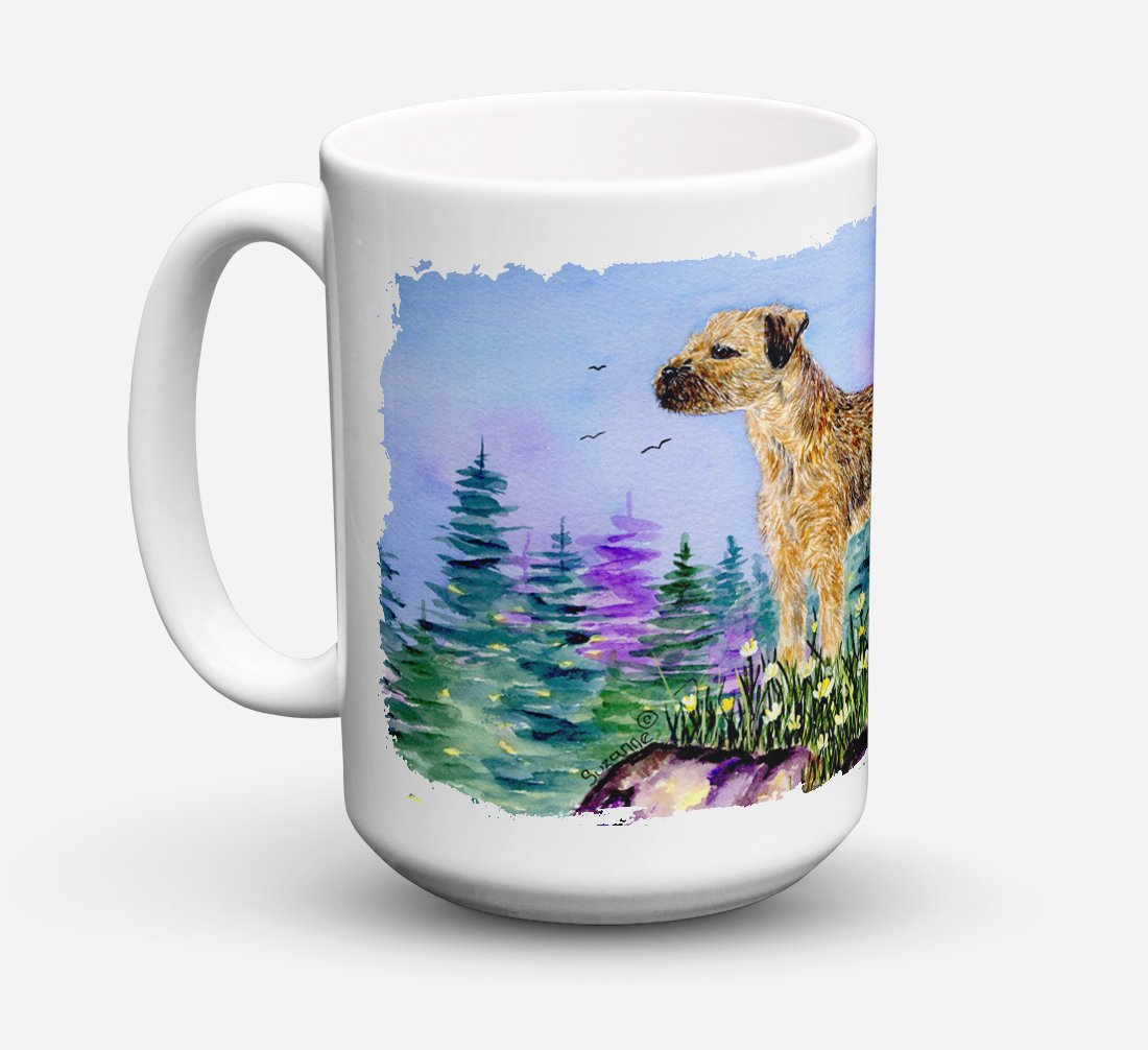 Border Terrier Dishwasher Safe Microwavable Ceramic Coffee Mug 15 ounce SS8664CM15 by Caroline's Treasures