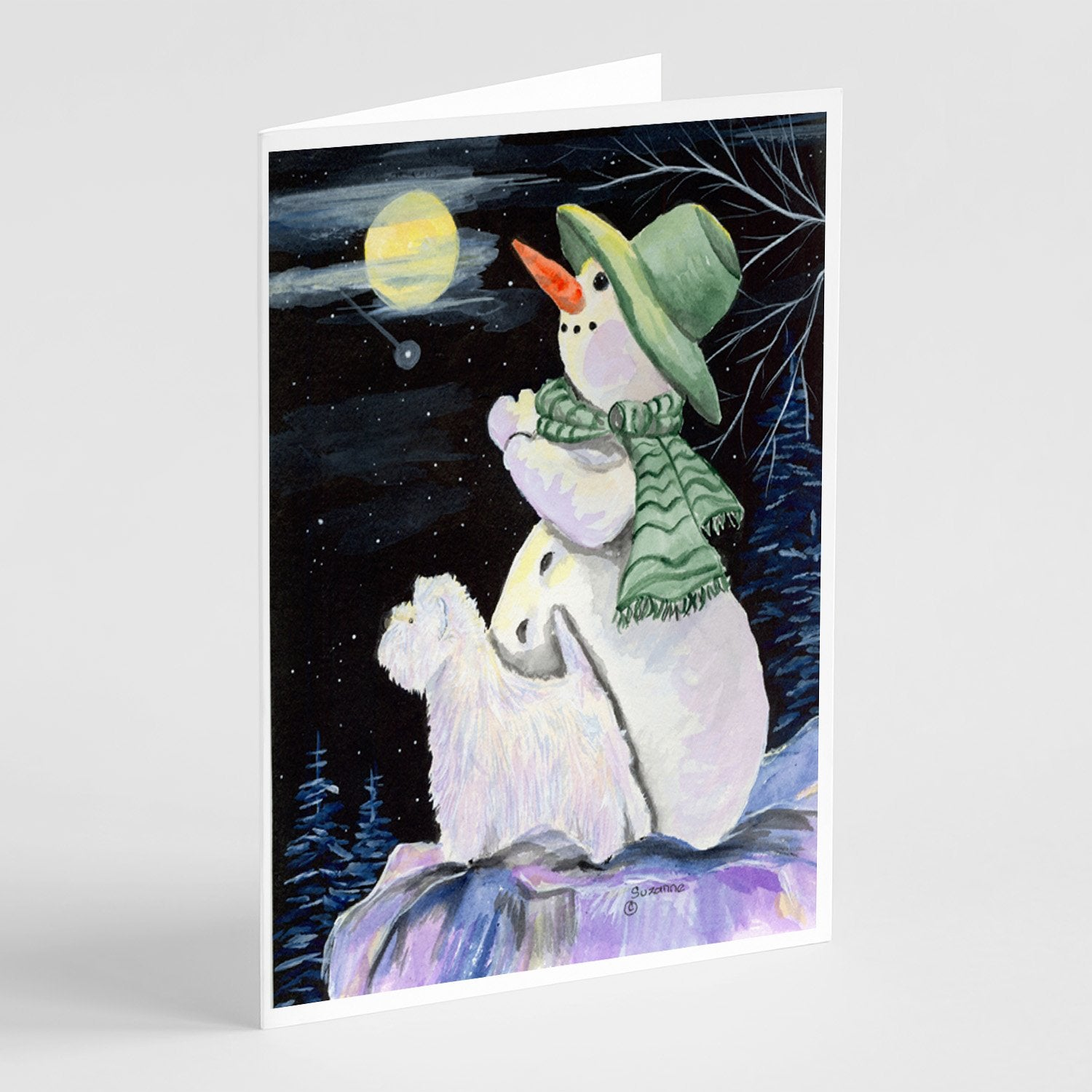 Buy this Snowman with Westie Greeting Cards and Envelopes Pack of 8