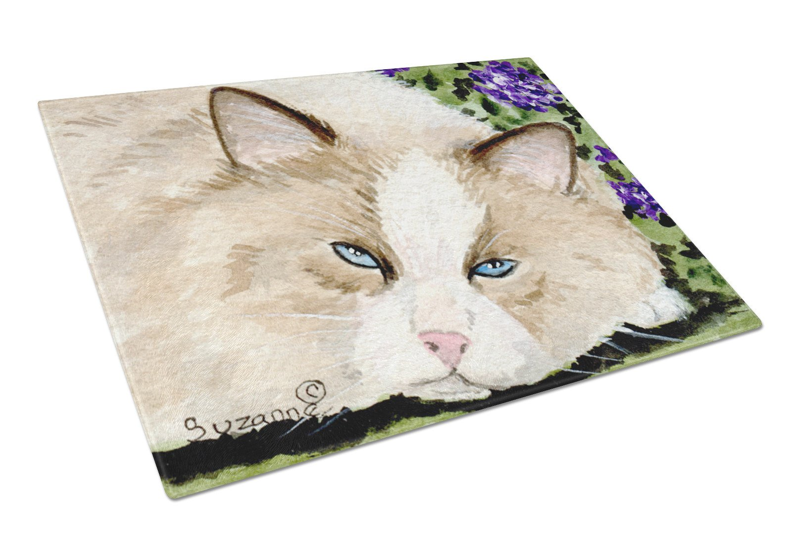 Cat Glass Cutting Board Large by Caroline's Treasures