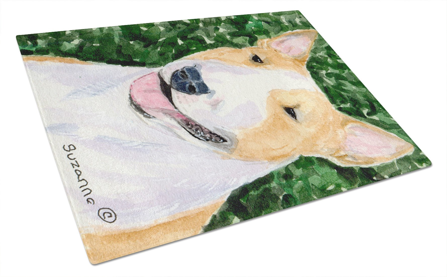 Bull Terrier Glass Cutting Board Large by Caroline's Treasures