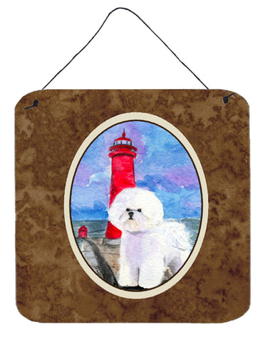 Buy this Lighthouse with Bichon Frise Aluminium Metal Wall or Door Hanging Prints