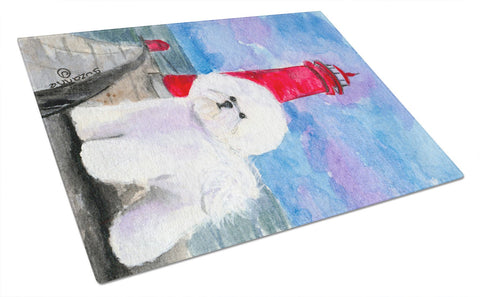 Buy this Lighthouse with Bichon Frise Glass Cutting Board Large