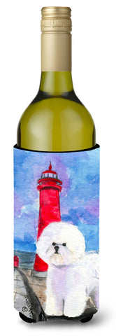 Buy this Lighthouse with Bichon Frise Wine Bottle Beverage Insulator Beverage Insulator Hugger