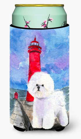 Buy this Lighthouse with Bichon Frise  Tall Boy Beverage Insulator Beverage Insulator Hugger