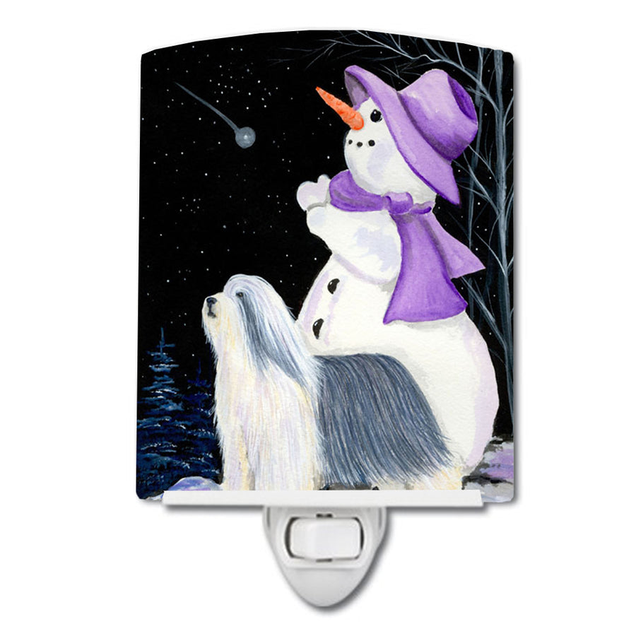 Buy this Snowman with Bearded Collie Ceramic Night Light SS8947CNL