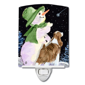 Buy this Snowman with English Springer Spaniel Ceramic Night Light SS8949CNL