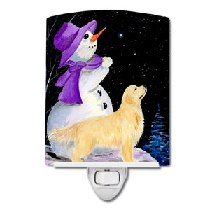 Buy this Snowman with Golden Retriever Ceramic Night Light SS8950CNL